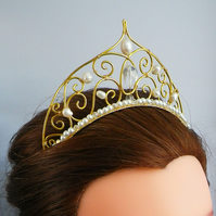 Gold Wedding Tiara Statement Tiara bridal hair piece wedding hair piece bridal
