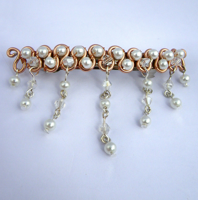02f0409bb1a1 Rose Gold Hair Clip Hair Barrette bridal hair c... - Folksy