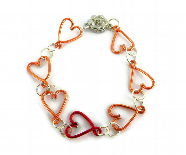 Linked Hearts Bracelet - gift for her, Heart jewellery