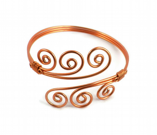 Copper Swirl Cuff Bangle Handmade Wire Wave upper arm boho cuff Christmas gift
