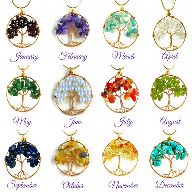 Tree of Life Birthstone gold  Mother of the bride or groom gift for her