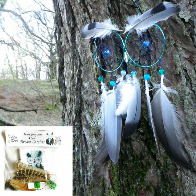 DIY Kit Owl Dream Catcher kit - hallowen craft kits Christmas gifts