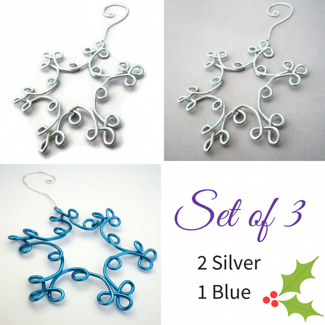 Silver & Blue Snowflake Christmas Decoration Set