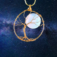 Full Moon Tree of Life Necklace - nature jewellery gift for her space