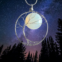 Full Moon Necklace - Tree and moon - Nature necklace - wanderlust gift for her