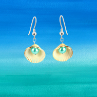 Shell Pearl Earrings - mermaid jewellery seaside ocean gift for her