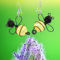 Bee Earrings - insect gift for her - statement earrings