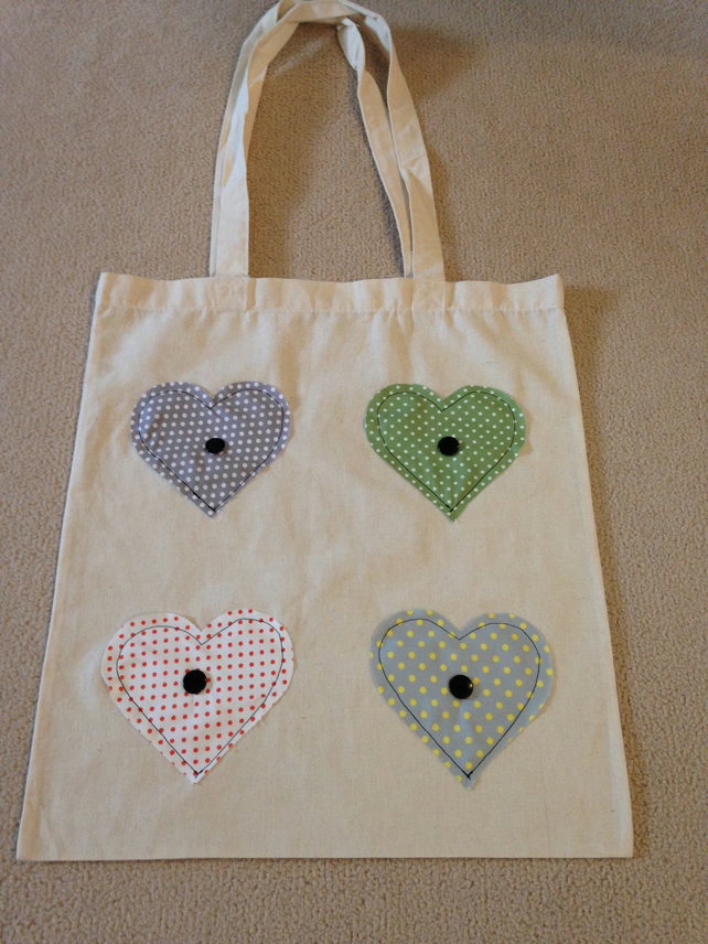 Applique Hearts Shoulder Tote Bag