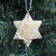 1 White & Gold Christmas Star Decorations