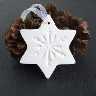 Set of 3 White Christmas Star Ornaments