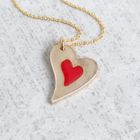 Small Heart Pendant Necklace with Red Cold Enamel and Gold Bronze