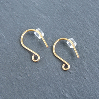 5 Pairs 24ct Gold-plated Shepherds Crook Earwires, Fishhook Earwires, Findings