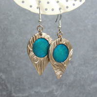 Teardrop Earrings with Turquoise Blue Cold Enamel and Gold Bronze