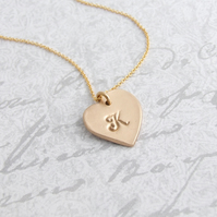 Personalised Heart Initial Pendant Necklace, Bespoke Bronze Initial Necklace