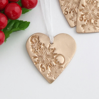 Christmas Heart & Snowflakes Ornament,  Bronze Metal Xmas Decoration