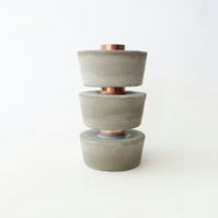 Modern Industrial Copper and Concrete Candle Holder