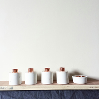 White edition concrete and copper candle holder