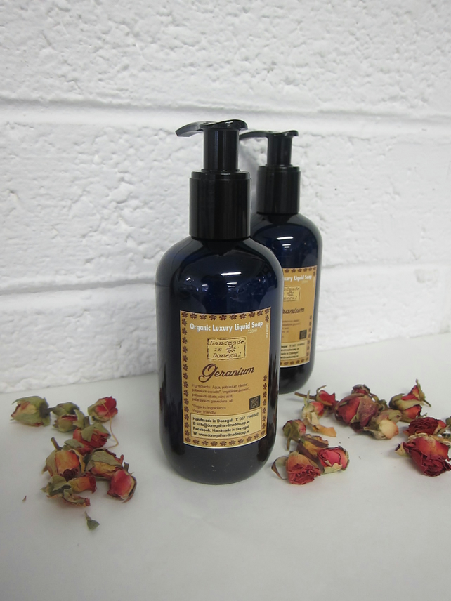 Organic Liquid Soap with Geranium Oil