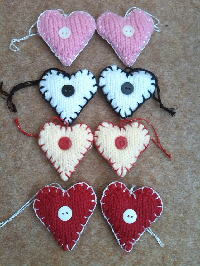 Heart Decoration Knitting Pattern : Pairs of Hand knitted hearts, heart decorations, - Folksy