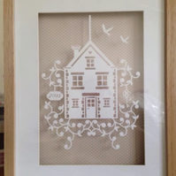 Large Paper Cut. House & year. Ideal Housewarming new Home Gift