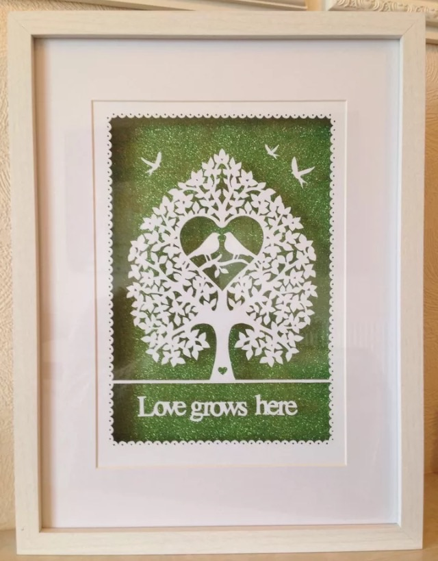 Large paper cut, love grows here, ideal wedding, new home gift