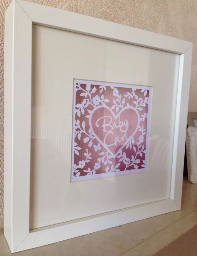 Baby Girl Paper Cut In White Box Frame. New Baby Gift