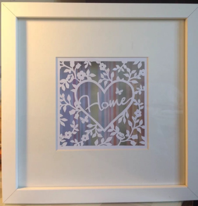 Home Paper Cut, Floating In A Box Frame. Ideal New Home Housewarming Gift.