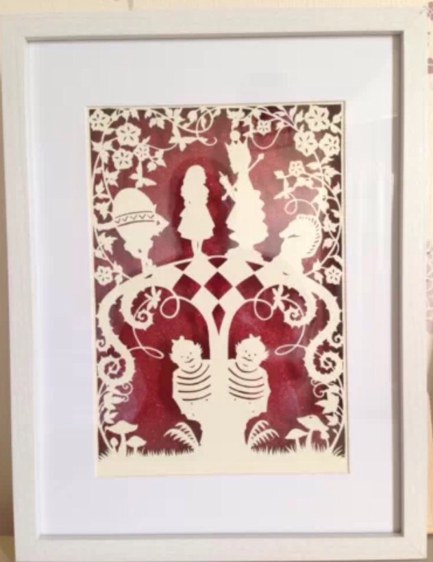 Large Paper Cut, Alice in Wonderland, Through The Looking Glass.