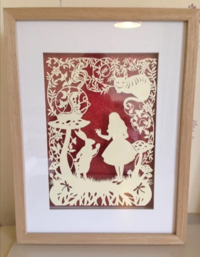 Large Paper Cut, Alice In Wonderland Floating Over Glitter Background