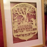 Large Paper Cut, Alice In Wonderland Mad Hatters Tea Party