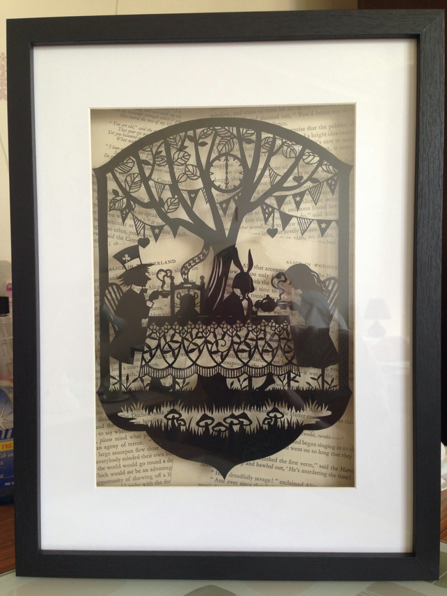 Large Paper Cut Alice in Wonderland, Mad Hatters Tea Party.