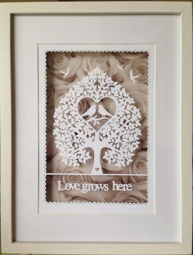 Paper cut, Love Grows Here, Lovebirds, Framed