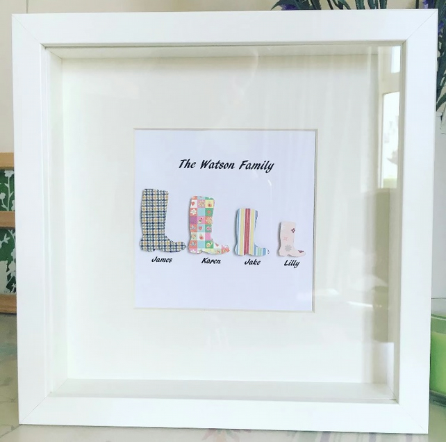 Personalised Wellies Family Frame.