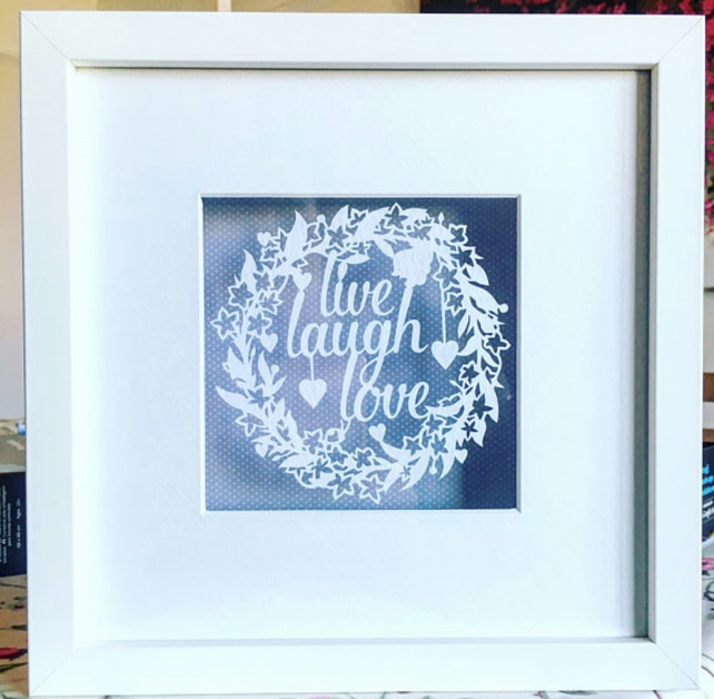 Framed paper Cut live laugh love. Paper panda design
