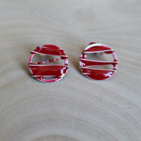 Red Enamel Solid Silver Studs