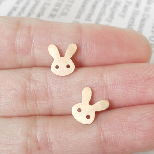 bunny rabbit earring studs with straight ears in 9ct yellow gold