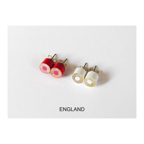 colour pencil ear studs, the country flag collection
