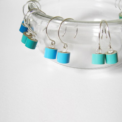 colour pencil dangle earrings, the green and blue collection
