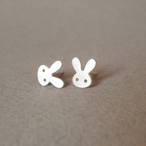 sterling silver bunny rabbit ear studs with straight ears