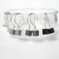 color pencil earrings, the black, grey and white series, handmade in UK