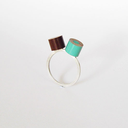 colour pencil ring with sterling silver, green & brown
