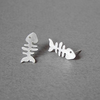 fish bone ear studs in sterling silver