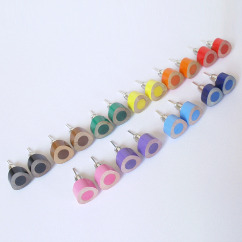colour pencil earring studs, the triangle version in candy colors