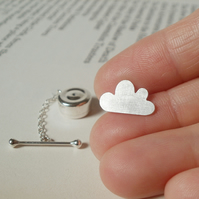 fluffy cloud tie tack in sterling silver