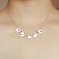 petal necklace in sterling silver, a string of petal