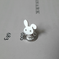 bunny rabbit lapel pin in sterling silver