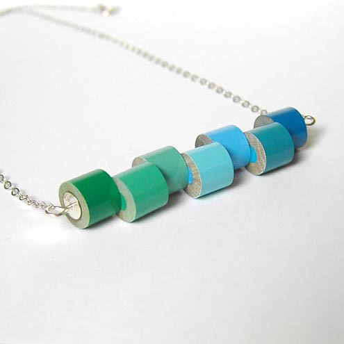 Colour pencil necklace, the green and blue collection