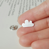 fluffy cloud lapel pin tie tack in sterling silver