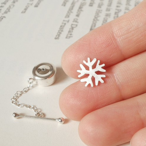 snowflake tie tack in sterling silver