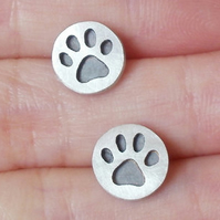 pawprint earring studs, oxidized paw print in sterling silver